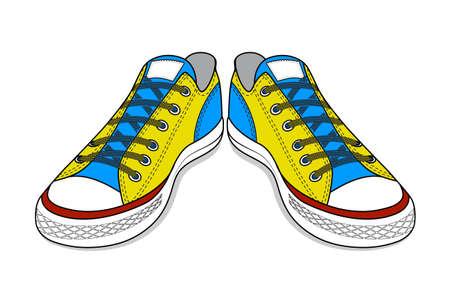 footwear: drawing of sports shoes. youth easy footwear
