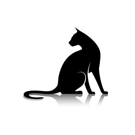 stylised: silhouette of a cat icon Illustration