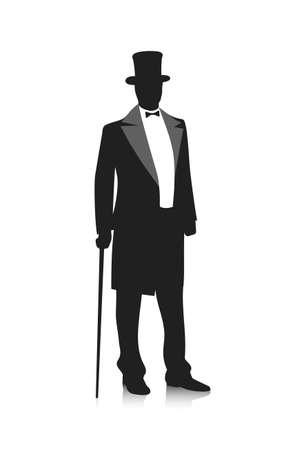 silhouette of a gentleman in a tuxedo Фото со стока - 38655857