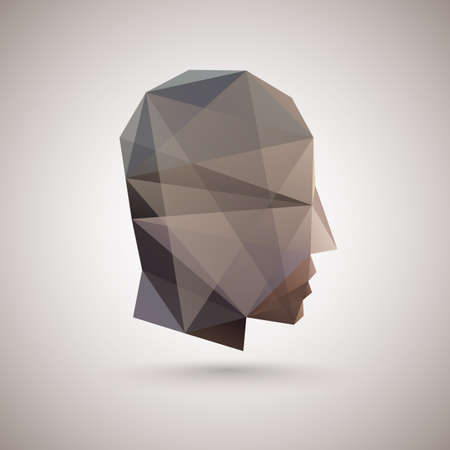 head of polygons. abstract form of human