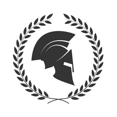 arte greca: icona di un casco Spartan in una corona di alloro Vettoriali