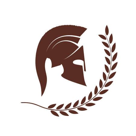 soldati romani: icona di un casco Spartan in una corona di alloro Vettoriali