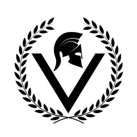 soldati romani: Spartan icona simbolo elmo di un guerriero