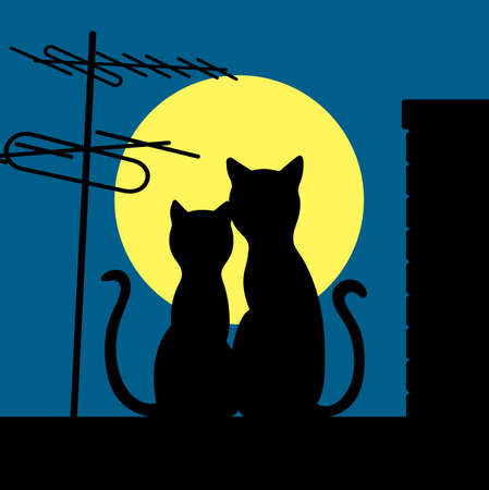 cats on a night roof Vector