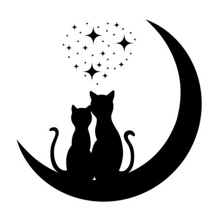 black cat silhouette: cats in love