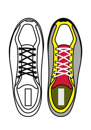 athletic wear: sports shoes top view