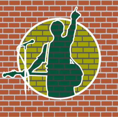 drawing rock musician on a brick wall