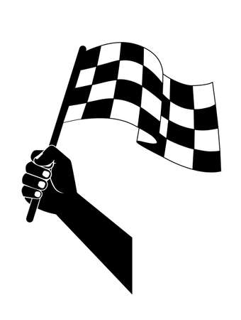 racing checkered flag crossed: flag to start, finish racing in the hand Illustration