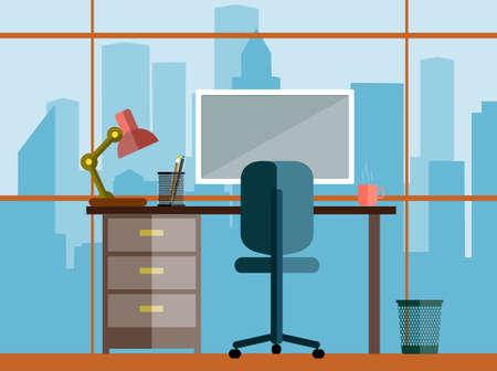 personas trabajando en oficina: concepto de negocio de un escritorio en el estilo plano de oficina Vectores