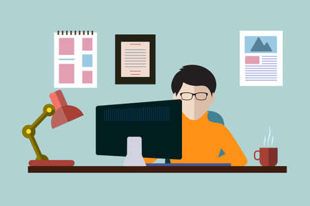 blogger: worker at a computer in a flat style