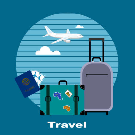 business flying: Objects of tourism and travelings, flat style.