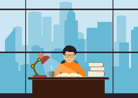 Students in the library illustrations