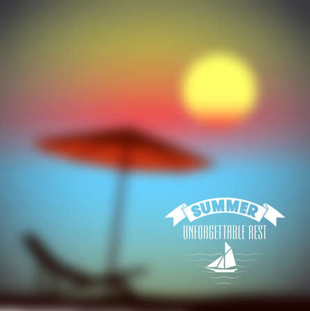 beach sunset: summer sunset on the beach vector background