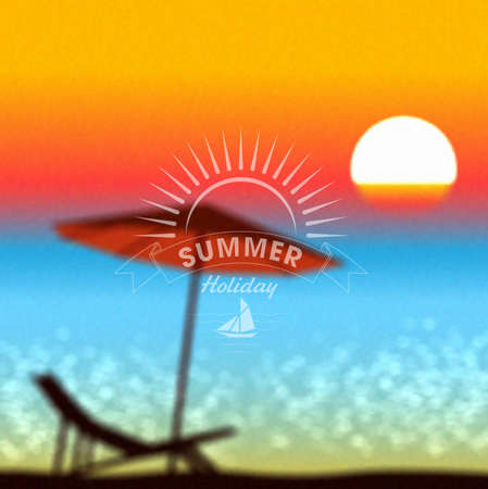flipflop: summer sunset on the beach vector background