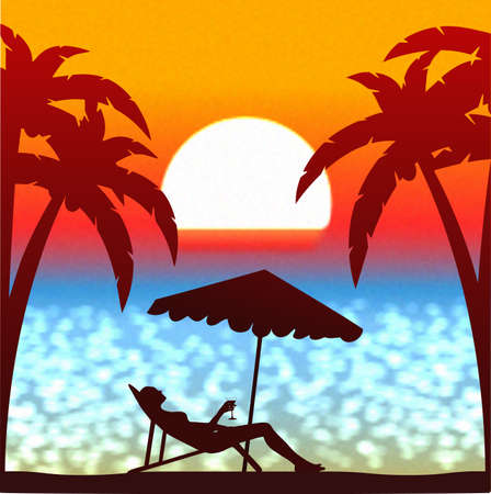 atoll: summer sunset on the beach vector background