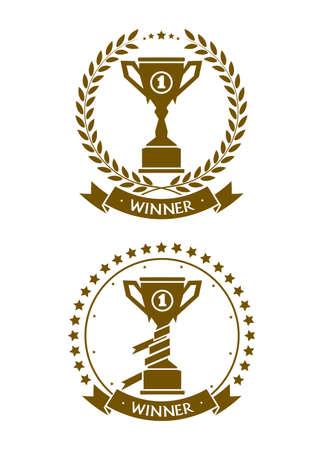 commendation: badge cup symbol of the winner Illustration