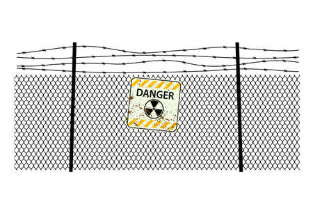 sign radiation on steel fencing with a barbed wire Vector