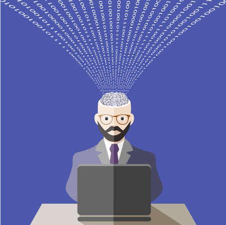 informatics: world of information technologies. flat style Illustration