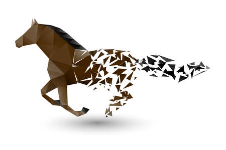 horses in the wild: running horse from the collapsing grounds Illustration