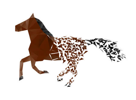 black and white farm: running horse from the collapsing grounds Illustration