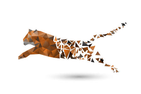 faced: leaping tiger from polygons Illustration