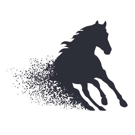 stately: running horse in the grunge style