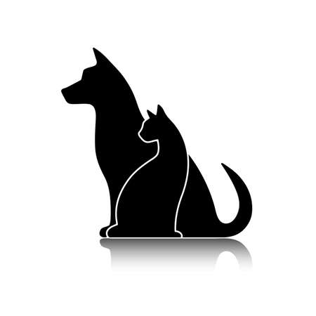 group of dogs: Silhouettes of pets cat dog Illustration