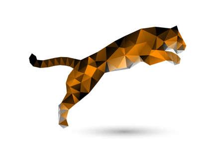 silueta tigre: saltando tigre de polígonos