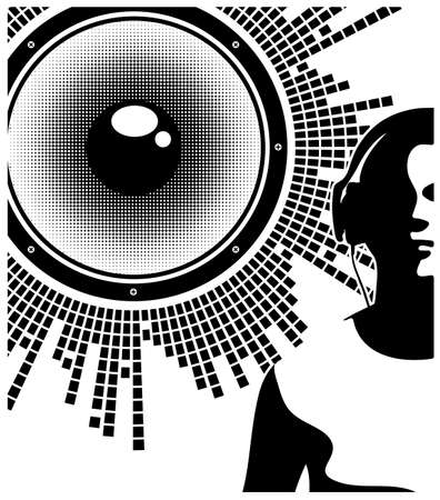 dj headphones: Silhouette of a DJ wearing headphones Illustration