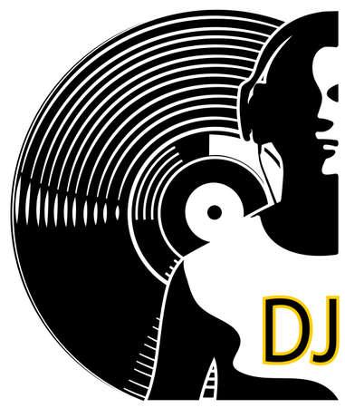 Silhouette of a DJ wearing headphones Stock Illustratie