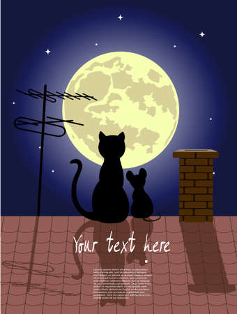 antenna: cat and little mouse on a roof against the moon