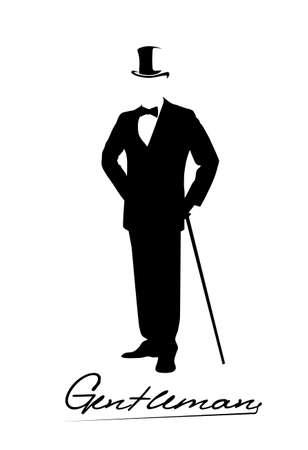 silueta de un caballero con un esmoquin