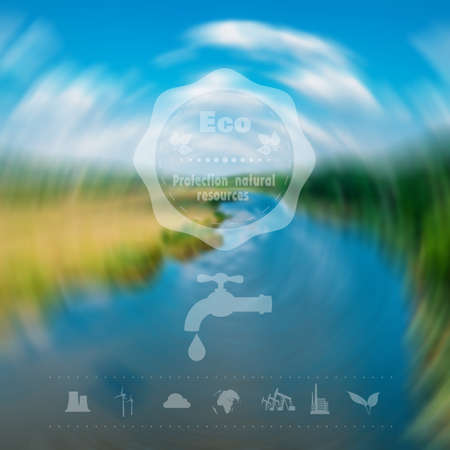 Environmental icons oil production exhaustion of water resources and other. Web interface design. Environmental protection. Concept. Vector Illustration