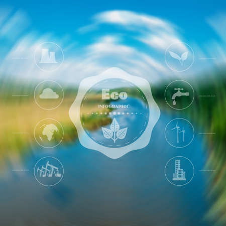 Infographics. Environmental icons oil production exhaustion of water resources and other. Web interface design. Environmentally friendly Concept.