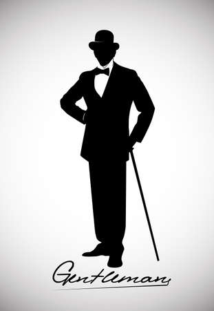 gentleman: silhouette of a gentleman in a tuxedo