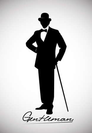 kapelusze: Sylwetka dżentelmena w smokingu