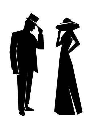 hombre con sombrero: silueta de la señora y caballero Vectores