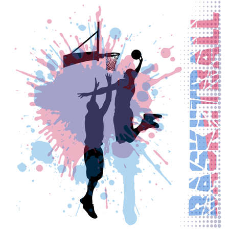 duel: basketball match on grunge background Illustration