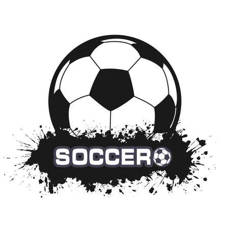 Balón de fútbol en un símbolo en el estilo grunge Foto de archivo - 42149515
