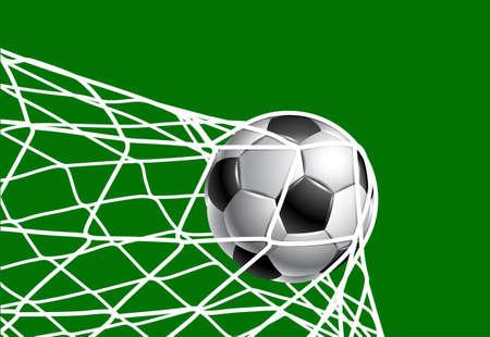 ballon foot: Ballon de football dans une grille de la porte Illustration