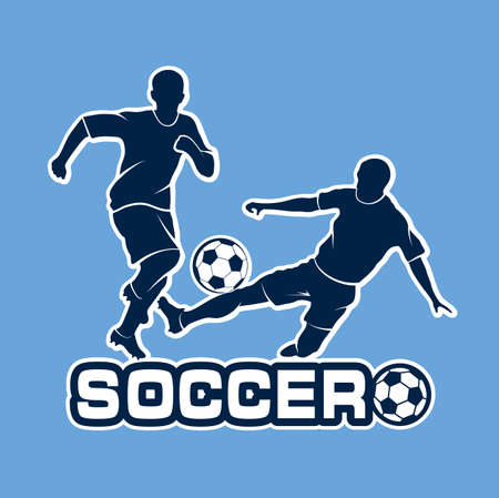 duel: football duel silhouettes of players Illustration
