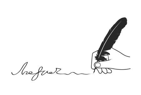pluma: mano añade la firma sobre un fondo blanco Vectores