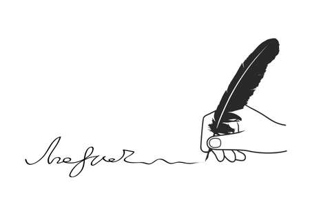 hand appends the signature on a white background