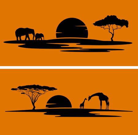 アフリカ モノクロ風景  イラスト・ベクター素材