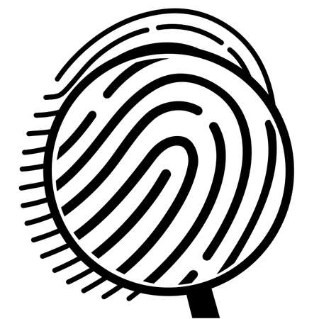dactylogram: fingerprint under a magnifying glass Illustration