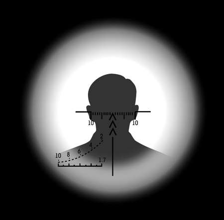 gun sight: silhouette of the person in a gun sight