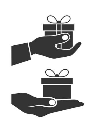 gift icon: icon a gift in a hand Illustration