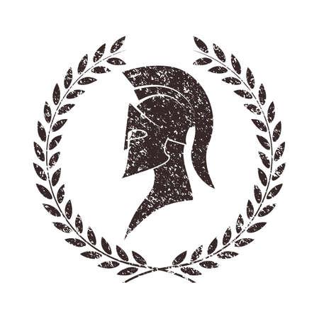 versleten warrior icoon in grunge stijl