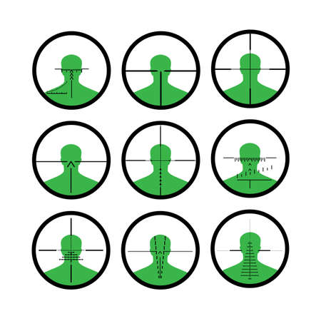 eyepiece: silhouette of the person in a riflescope Illustration
