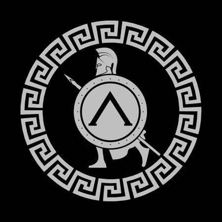 ancient soldiers: icon silhouette of the Spartan soldier